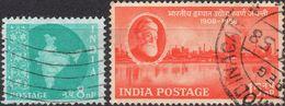 INDIA 1958 - MAPPA DELL'INDIA + INDUSTRIA ACCIAIO - 2 VALORI USATI - 1950-59 Repubblica