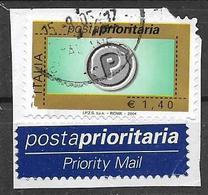 ITALIA  REPUBBLICA 2004 POSTA PRIORITARIA SASS. 2748 USATO CON APPENDICE SU FRAMMENTO - 2001-10: Usati