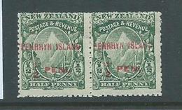 Penrhyn Island 1902 1/2d Overprint Pair One Unit No Stop Variety MLH - Penrhyn