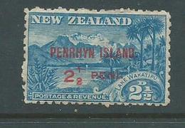 Penrhyn Island 1902 2 & 1/2d Overprint Variety 1/2 & P Widely Spaced Mint - Penrhyn