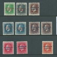 Penrhyn Island 1917 - 1920 Overprints On KGV Part Set Of 10 Including Perf Varieties Mint - Penrhyn