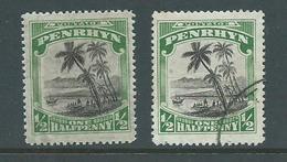 Penrhyn Island 1927 - 1929 1/2d Palms Both MLH & FU - Penrhyn