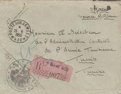 LETTRE FM REC BPM 402 - COMMANDANT SP 51256 - 4e R.T.T - POUR DIRECTEUR L A.C.A.T - TUNIS - Postmark Collection (Covers)