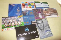 LOT DE 9 CARTES PUBLICITE FOOTBALL ...EQUIPE DE FRANCE...ZIDANE ..OM....ETC - Cartoline