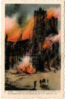 5MKS 542 . REIMS - BOMBARDEMENT DE REIMS - LA CATHEDRALE EN FEU - Reims