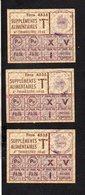Guerre 1939/1945 / 3 Ticket(s) Ou Coupon(s) De Rationnement Supléments Alimentaires 4éme Trimestre 1948 / Cachet Caen - Documents