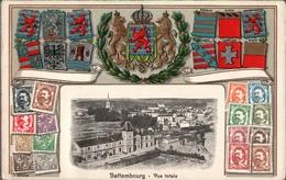 ! Alte Präge Ansichtskarte Wappen Bettembourg, Bettemburg, Bahnhof, La Gare, Luxemburg, Briefmarken, Timbres, Luxembourg - Bettembourg