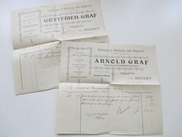 Schweiz 1906 / 08 2 Rechnungen / Firmenbriefe Gotfried Graf Ustensiles De Menage Boudry - Covers & Documents