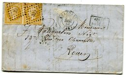 OISE De BEAUVAIS LAC Du 24/12/1857 Avec N°13 En Paire Oblitérés PC 332 - Postmark Collection (Covers)