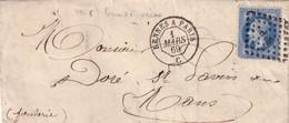 RENNES - A PARIS - AMBULANT DE JOUR - DU 1 MARS 1869 - EMPIRE N°29 OBLITERATION LOSANGE Rs.P. - SIGNE COMPAIN QUICAILLER - Poste Ferroviaire