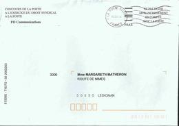NEC De Paris Brune _ La Poste 38295A - Enveloppe Entière Avec Code FIM FRAS Pour Les Organistions Syndicales - Marcofilie (Brieven)
