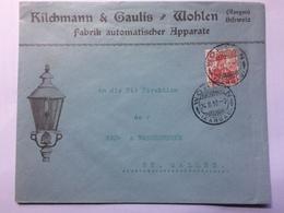 SWITZERLAND 1910 Cover `Kilchmann & Caulis` Wohlen To St. Gallen With Gas Light Illustration - Svizzera