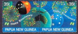 PAPUA NEW GUINEA 1988 SG #576-78 Compl.set+m/s Used Bicentenary Of Australian Settlement - Papouasie-Nouvelle-Guinée
