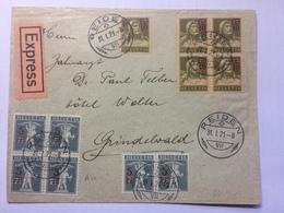 SWITZERLAND 1921 Cover Express Reiden To Grindelwald With Blocks Of 4 Showing Overprint Shift On 5 C Value - Switzerland