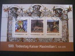 Österreich- Pers.BM Block 500. Todestag Kaiser Maximilian I. Mit Allen 3 Sonderstempeln Wr. Neustadt, Innsbruck, Wels - Austria