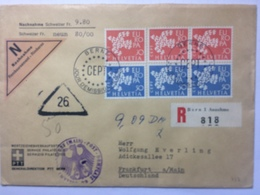SWITZERLAND 1961 Nachnahme Registered Bern Cover With Berne FDC Marks On Europa Set To Frankfurt With PO Cachet - Suisse