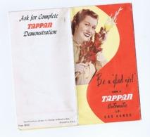 TAPPAN AUTOMATIC LP GAS RANGE - BE A GLAD GIRL -  VINTAGE DEPLIANT - 1950s/60s - Dépliants Touristiques