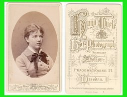 Photografie: Hugo Thiele, Dresden - Portrait Junge Dame, Frau Femme Woman Lady #0642 CDV /kab - Oud (voor 1900)