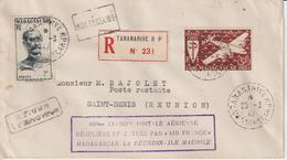 Lettre Recommandée 1947 Tananarive Pour La Réunion En Poste Restante. Griffe 100ème Liaison Madagascar-Réunion-Maurice - Madagascar (1889-1960)