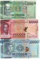 GUINEA  Set New 2'000 /10'000/20'000 Francs Guinees  (3 Notes)  PNew   (2018)  UNC - Guinea