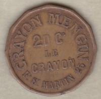 Jeton  Crayon Mengin . 20 Centimes  Le Crayon  . 25 Faubourg St Martin Paris - Professionnels / De Société
