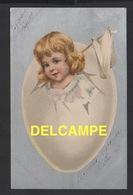 DF / FÊTES - VOEUX / PÂQUES / JOYEUSES PÂQUES / ENFANT DANS UN OEUF PORTANT UN DRAPEAU BLANC / DESSIN / 1903 - Easter