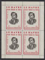 Vignette Le Havre Journée Du Timbre 1969 F Lemaitre En Bloc De 4 Toujours Sans Gomme - Commemorative Labels