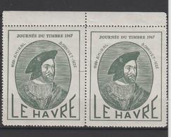 Vignette Le Havre Journée Du Timbre 1967 Amiral Bonnivet En Paire Avec Gomme ** MNH - Commemorative Labels