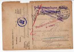 FRANCHISE MILITAIRE   CARTE PRISONNIER DE GUERRE 1916 - Cartes De Franchise Militaire