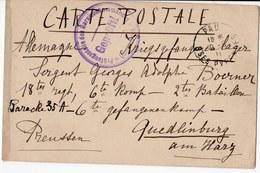 FRANCHISE MILITAIRE  CACHET  DES LETTRES TROP LONGUES ET MAL ECRIYES NE SONT PAS DELIVR  CARTE PRISONNIER DE GUERRE 1915 - Marcophilie (Lettres)