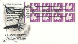 USA FDC San Francisco 15-3-1981 Change Of Rate Postage B Booklet Pane With ArtCraft Cachet - 1981-1990