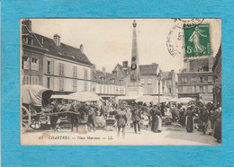 Chartres. - La Place Marceau, Jour Du Marché. - Café-Restaurant-Buvette. - Chartres