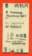 Germany(GDR) 1973. Ticket For Magdeburg- Vahldorf Train. - Railway