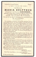 Devotie - Doodsprentje Overlijden - Maria Bultynck - Gent 1883 - 1940 - Décès