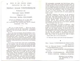 Devotie - Doodsprentje Overlijden - Oudstrijder - Jeroom Vandenbussche - Pollinkhove 1883 - Roeselare 1962 - Décès