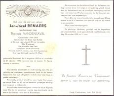 Devotie - Doodsprentje Overlijden - Oudstrijder - Jan Jozef Renaers - Boekhout 1882 - 1959 - Décès