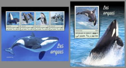 DJIBOUTI 2019 MNH Orcas M/S+S/S - IMPERFORATED - DH1914 - Baleines