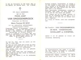 Devotie - Doodsprentje Overlijden - Oudstrijder - Frans Van Droogenbroeck - Liedekerke 1892 - 1971 - Décès