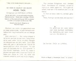 Devotie - Doodsprentje Overlijden - Oudstrijder - Henri Tack - Westmalle 1897 - St Lenaarts 1964 - Décès