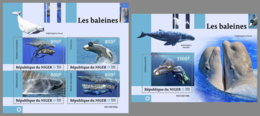 NIGER 2019 MNH Whales Wale Baleines M/S+S/S - IMPERFORATED - DH1914 - Baleines
