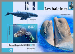 NIGER 2019 MNH Whales Wale Baleines S/S - IMPERFORATED - DH1914 - Baleines