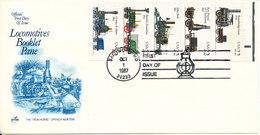 USA FDC Baltimore 1-10-1987 Locomotives Booklet Pane With ArtCraft Cachet - 1981-1990