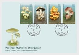 Kirgistan Kyrgyzstan MNH** 2019  Poisonous Mushrooms Of Kyrgyzstan Mi 121-24 FDC Shipment Versand 12.05.19 M - Pilze