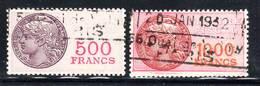 FISCAUX - TIMBRE FISCAL - N° 51+52 Obl  (1925) 500 Fr+1000 Fr - Fiscaux