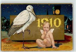 52957136 - 1910 Storch Baby Neujahr - New Year
