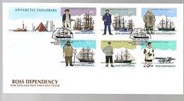 Ross Depency Anartctic Exporers 1995 FDC Amundsen Shakleton Bennett Erebus (103) - FDC