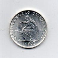 """ITALIA - 1975 - 500 Lire FDC """"Michelangelo Buonarroti"""" - Argento 835 - Peso 11 Grammi - (MW2206) - 1946-… : Repubblica"""