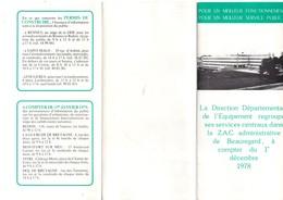 Nouvelle Installation à BEAUREGARD à RENNES (35) Des Services Centraux Direction De L'équipement, 3 Volets, De 1978 - Transports