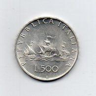 """ITALIA - 1960 - 500 Lire """"Caravelle"""" - Argento 835 - Peso 11 Grammi - (MW2207) - 1946-… : Repubblica"""