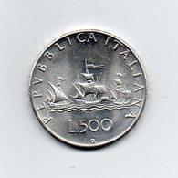 """ITALIA - 1966 - 500 Lire """"Caravelle"""" - Argento 835 - Peso 11 Grammi - (MW2208) - 1946-… : Repubblica"""